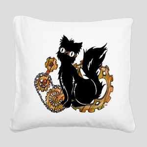 Gear Cat Square Canvas Pillow