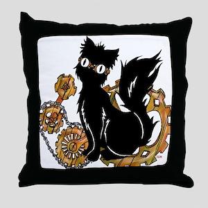 Gear Cat Throw Pillow