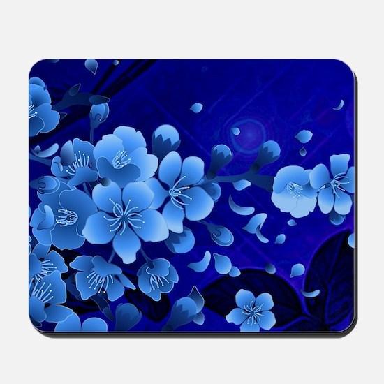 Cherry blossom, blue colors Mousepad