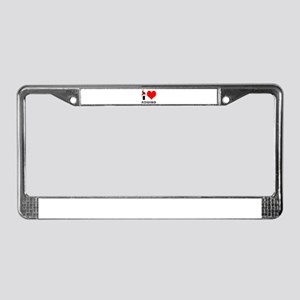 I Love Rowing License Plate Frame