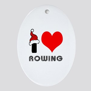 I Love Rowing Ornament (Oval)