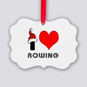 I Love Rowing Picture Ornament