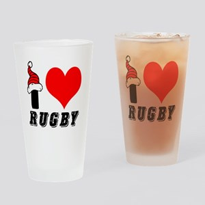 I Love Rugby Drinking Glass