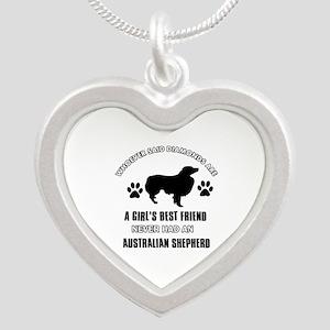 Australian Shepherd Mommy designs Silver Heart Nec