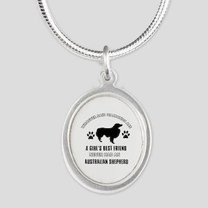 Australian Shepherd Mommy designs Silver Oval Neck