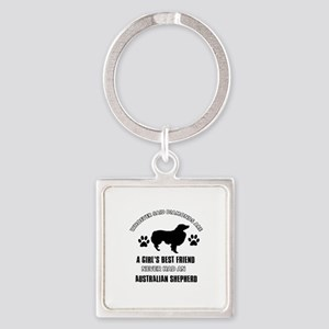 Australian Shepherd Mommy designs Square Keychain