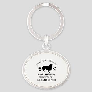 Australian Shepherd Mommy designs Oval Keychain