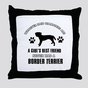 Border Terrier Mommy designs Throw Pillow