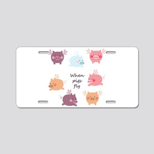 When Pigs Fly Aluminum License Plate