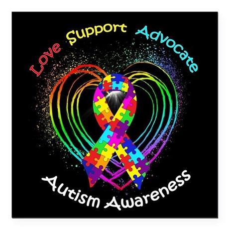 "Autism Ribbon on Heart Square Car Magnet 3"" x 3"""