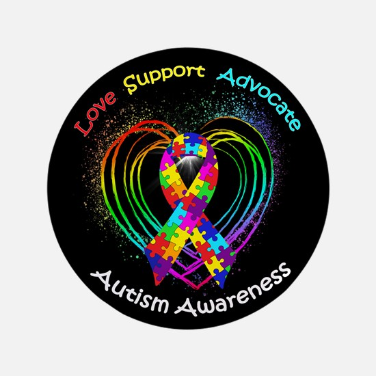 """Autism Ribbon on Heart 3.5"""" Button (100 pack)"""