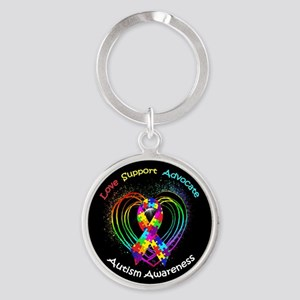 Autism Ribbon on Heart Round Keychain