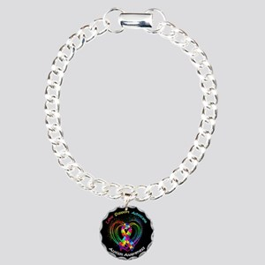 Autism Ribbon on Heart Charm Bracelet, One Charm
