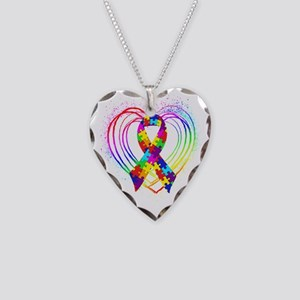 Autism Ribbon on Heart Necklace Heart Charm