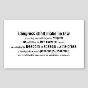 1st Amendment Words Rectangle Sticker