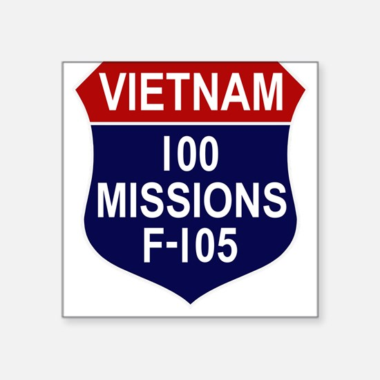 "100 MISSIONS - F-105.PNG Square Sticker 3"" x 3"""