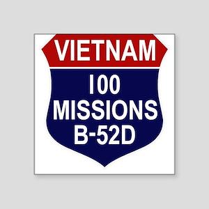 """100 MISSIONS - B-52D Square Sticker 3"""" x 3"""""""