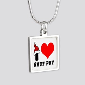 I Love Shot Put Silver Square Necklace