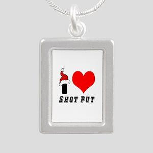I Love Shot Put Silver Portrait Necklace