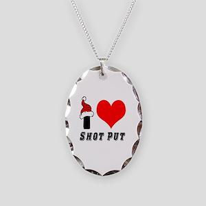 I Love Shot Put Necklace Oval Charm