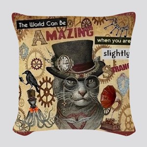 Slightly Strange Woven Throw Pillow