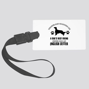 English Setter Mommy designs Large Luggage Tag