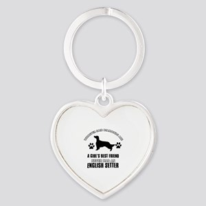 English Setter Mommy designs Heart Keychain