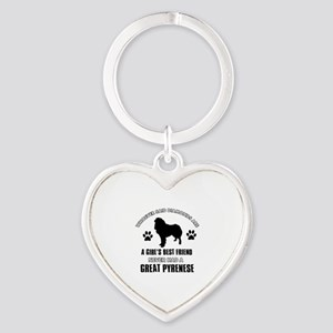 Great Pyrenese Mommy designs Heart Keychain