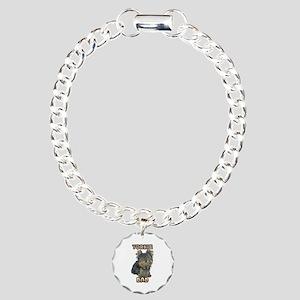 Yorkshire Terrier Dad Charm Bracelet, One Charm