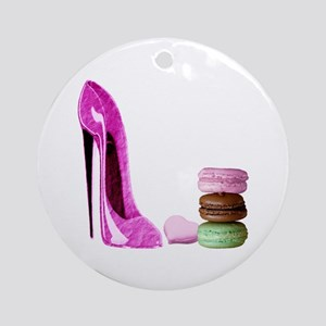 Pastel Stiletto and French Macaroons Art Ornament