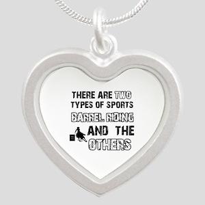 Barrel Riding designs Silver Heart Necklace
