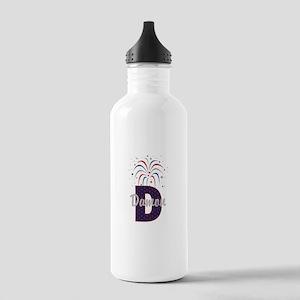 4th of July Fireworks letter D Water Bottle