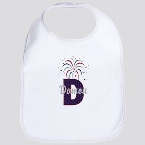 4th of July Fireworks letter D Bib