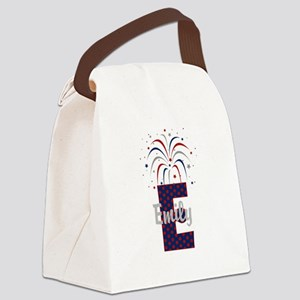 4th of July Fireworks letter E Canvas Lunch Bag