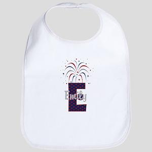 4th of July Fireworks letter E Bib