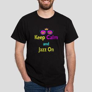 Crown Sunglasses Keep Calm And Jazz On Dark T-Shir