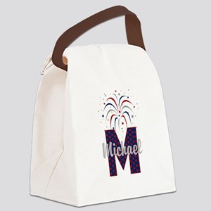 4th of July Fireworks letter M Canvas Lunch Bag