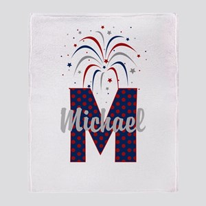 4th of July Fireworks letter M Throw Blanket
