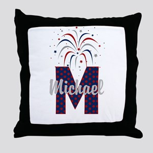 4th of July Fireworks letter M Throw Pillow