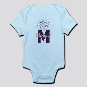 4th of July Fireworks letter M Body Suit