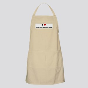 I Love eating cute and fuzzy  BBQ Apron