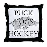 Puck Hogs Hockey Throw Pillow