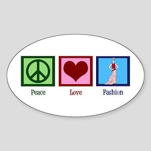 Peace Love Fashion Sticker (Oval)