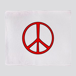 Red Narrow Peace Sign Throw Blanket