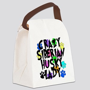 Crazy Siberian Husky Lady Canvas Lunch Bag