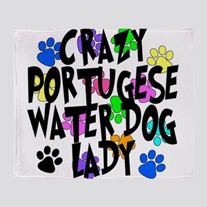 Crazy Portugese Water Dog Lady Throw Blanket