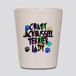 Crazy Jack Russell Terrier Lady Shot Glass