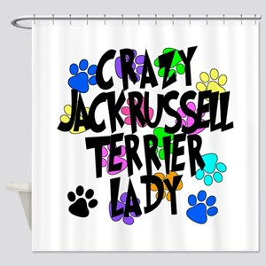 Crazy Jack Russell Terrier Lady Shower Curtain