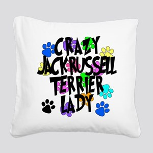Crazy Jack Russell Terrier Lady Square Canvas Pill