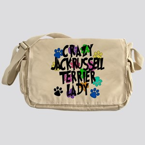 Crazy Jack Russell Terrier Lady Messenger Bag
